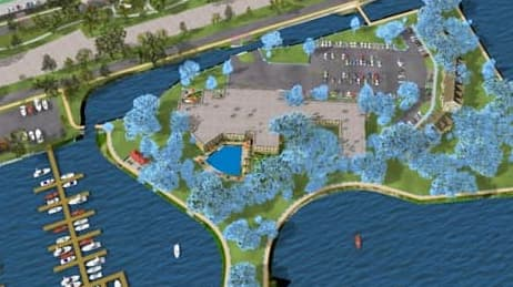 3D model of community surrounded by water