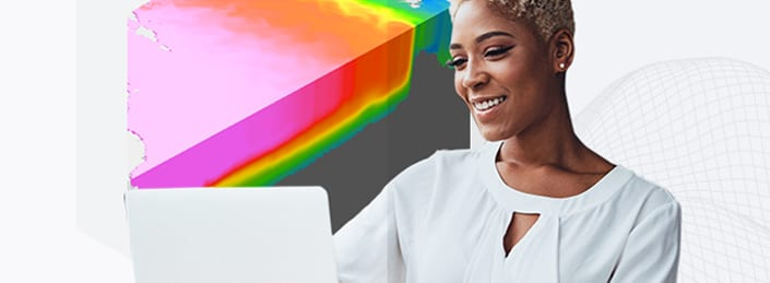 Young woman with white top using a laptop