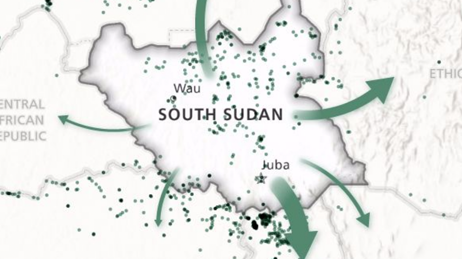 Map of South Sudan with areas marked in green dots and arrows